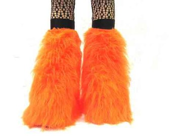 Uv Neon Orange  Furry Fluffy Legwarmer Boot Cover Halloween costume Dance Clubwear Christmas winter usa