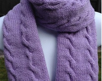 GetWoolly Cable knit scarf, long, pale purple, lavender, hand knitted