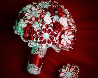 Bridal bouquet, handmade,color white / red /  sale!!!!