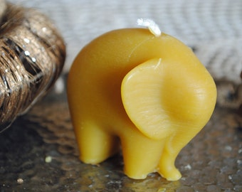 2 x Beeswax Elephant Candles - Xmas, Christmas Table Centre Piece - Elephant Beeswax Candles