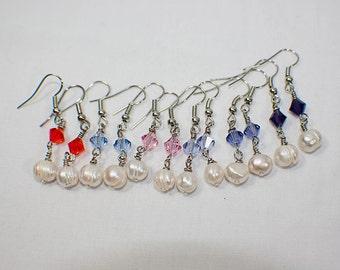 Swarovski Crystal wtih Pearl Earrings