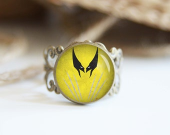 Wolverine superhero 25mm adjustable ring, antique silver or antique bronze, cool jewelry
