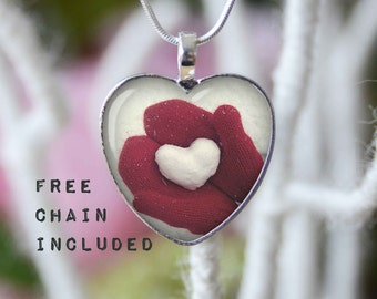 Heart shape necklace. Romantic gift pendant. Free matching chain is included.