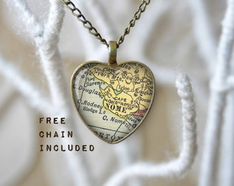 Nome Alaska heart shape map necklace. Romantic gift pendant. Free matching chain is included.