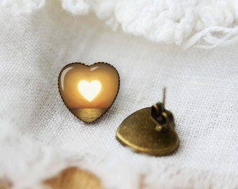 Sunset heart shaped earrings, silver plated or bronze stud posts, gift idea