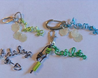 Names, pendants, Jewelry Accessories unisex, doors key names, words, text thread color choices, made hands