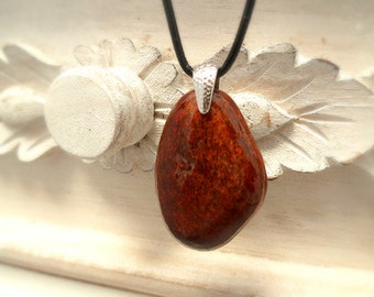 Red Stone Necklace, Pebble Pendant, Stone Pendant, Silver Bail, Pebble Jewelry
