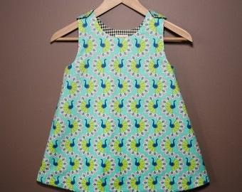 Reversible Girls Dress-Blue Peacocks