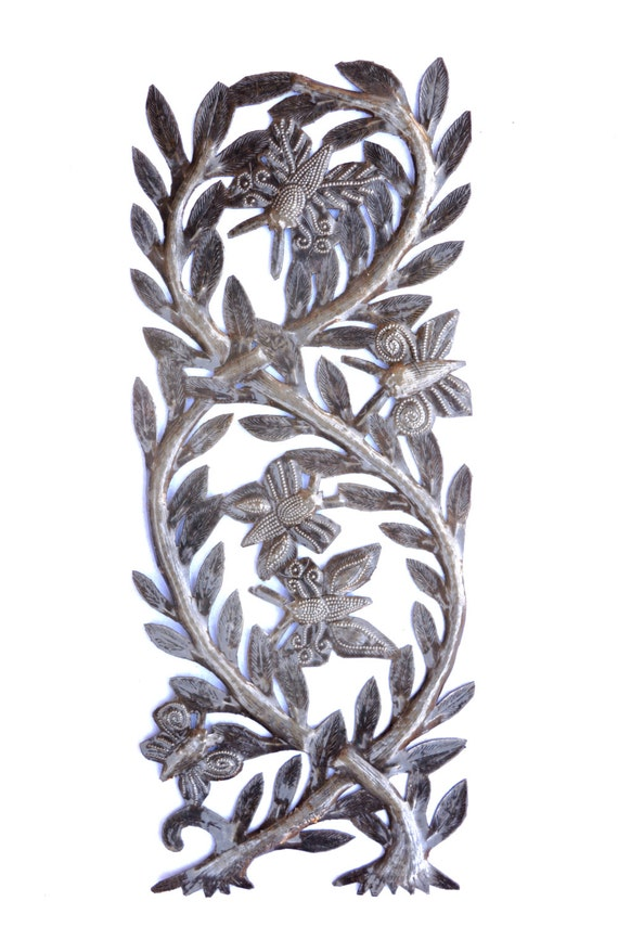 """Tree of Life, Branches filled with Butterflies, Recycled Metal Steel Barrel 7 1/2"""" x 17 1/2"""""""