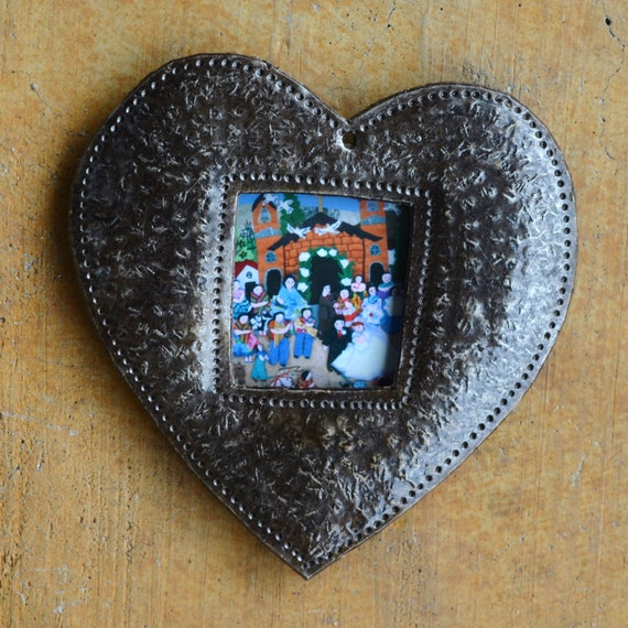 "Heart Ornament, Place Setting, Frame, Hang Tag, Teacher Gift, Recycled Metal Art from Haiti, 4"" x 4 1/2"" (sold in sets of 2)"
