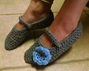 2 pair of Cozy Crocheted Mary Janes Slippers