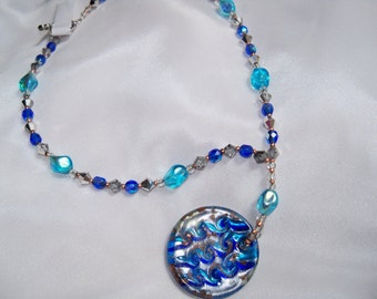 Aqua Blue and Royal Blue necklace glass beads with gold, silver design