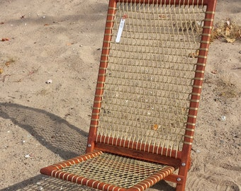 Handcrafted cherry beach chair/ handmade chair/ chair with lacing/ easy to carry, assemble beach chair