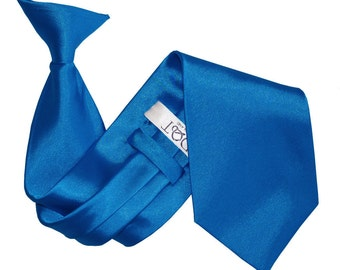 Satin Electric Blue Clip On Tie