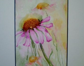 Flower painting, watercolor flower painting, mat included