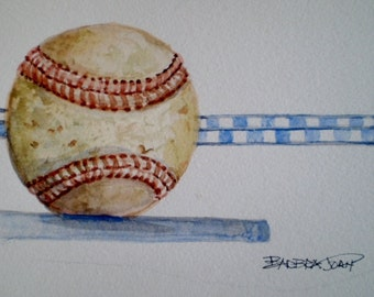 Baseball painting, Fathers Day,  Sports painting, original watercolor.