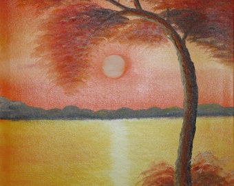 Tree in orange, painting on canvas