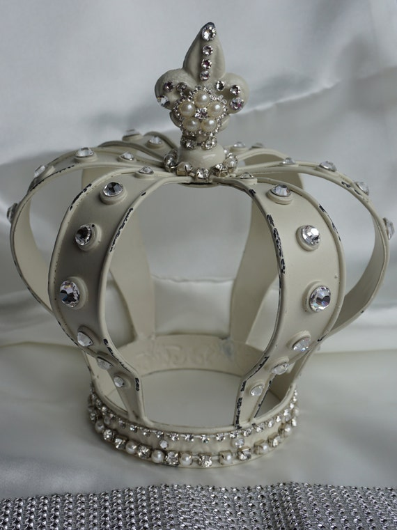 Items Similar To Decorated Metal Crown White Vintage On Etsy