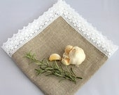 Luxury Natural Grey stone washed Linen Napkin Serviette Placemat Centrepiece Table topper with White Linen Lace French Country cottage style