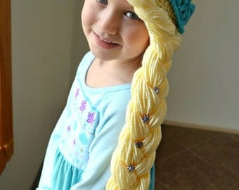 Crochet Elsa Hair : Elsa Hat Blonde Hair Handmade Crochet Elsa Wig Elsa Hair Princess Elsa ...