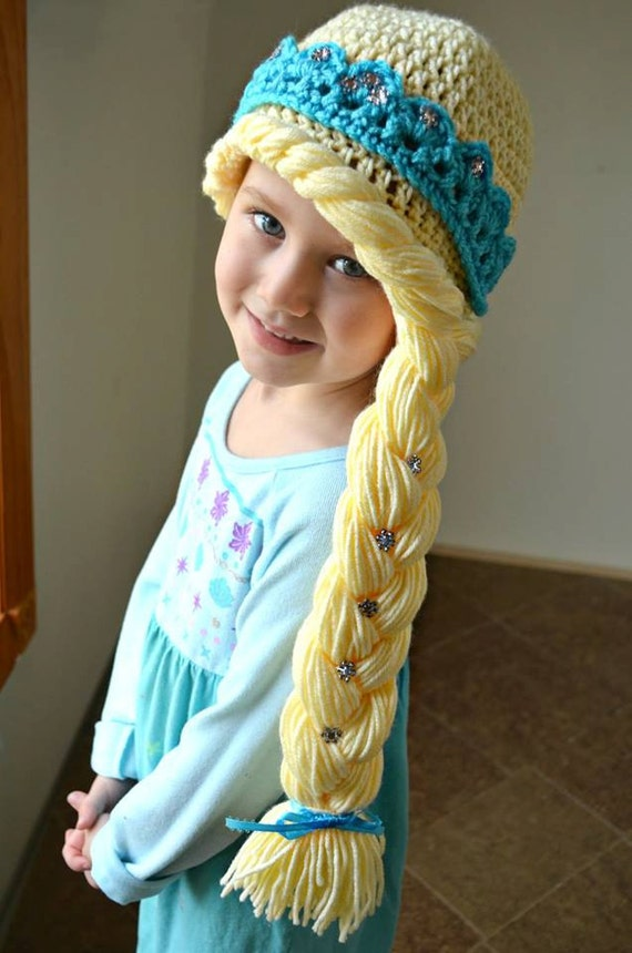 Elsa Hat Blonde Hair Handmade Crochet Elsa Wig Elsa Hair Princess Elsa ...