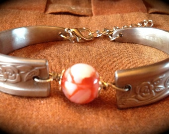 Silverware Handle Bracelet with red/white resin bead and adjustable lobster clasp CT016BRAC