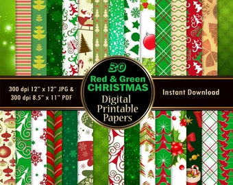 Christmas Scrapbook Paper Christmas Digital Paper Pack 30 Red Green Printable Wrapping Tree Santa Snowflake DOWNLOAD 12x12 JPG PDF