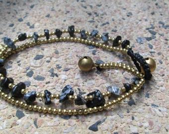 """Snowflake obsidian bracelet, Snowflake obsidian jewelry,brass bracelet, Snowflake obsidian 7"""""""