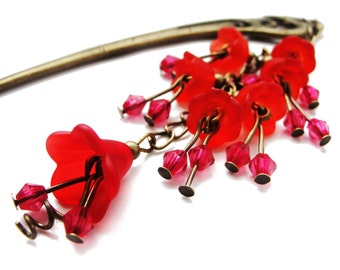 Japanese hair stick with frosted red lucite flowers - floral garden collection - hairstick, hair ornament, hairpin - stick to choose