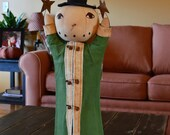 "Primitive Snowman with Hat and Coat ""Reaching for the Stars"""