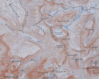 1908 Flattop Grinnell Mountains Haystack Butte Montana Antique Topographic Map