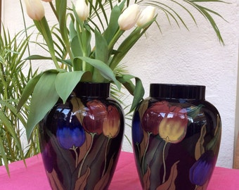 Royal Stanley Ware vases, tulip design, a pair from 1920's