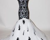 Dropped Waist Black and White Wedding/Evening Gown with Keyhole Back
