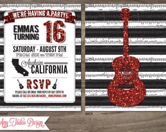 Glitter Guitar Party Invitation