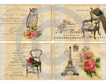 Instant download*digital sheet*old paper*scrapbooking*tags*cards*printable*french lace*14