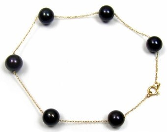 "7"" 6-7mm Genuine Black Pearl 14K Gold Chain Bracelet"