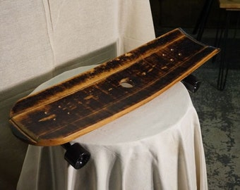 Vintage Reclaimed Whiskey Barrel Stave Skate Board