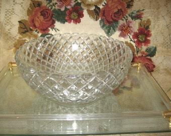 Waterford Waffle By Hocking Glass/Geometric Pattern Decorative Bowl/Waterford Glass/Anchor Hocking Glass