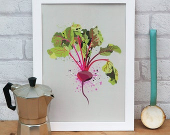 Kitchen Print - Beetroot. Wall art for kitchen, cafe or restaurant. Birthday gift for cook or chef or vegetarian present