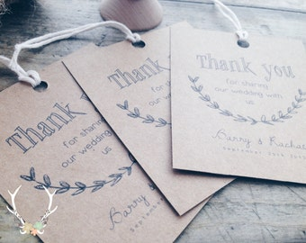 Personalised Printable Thank You Wedding Gift Tags.