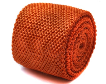 Plain orange knitted skinny tie with flat end by Frederick Thomas FT274