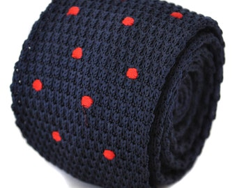knitted navy with red spotted skinny tie by Frederick Thomas FT1174