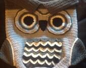 Luxury Crochet Owl Baby Cocoon  Hat set  Christening Baby Shower Photoprop