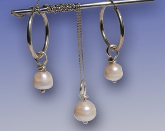 11mm Freshwater pearl earrings on hoop with matching 11 mm freshwater pearl necklace