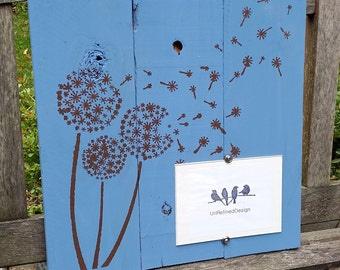Handmade Cedar Stenciled Painted Picture Frame