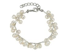 White water pearls Bracelet of twisted strands of Japanese silk with densely placed white freshwater pearls, Wristband for women jewelry