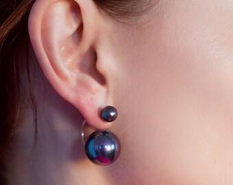 Pearl Earrings  Silver pearl earrings White pearl Black pearl Black pearl yearnings  White pearl earrings Gift idea