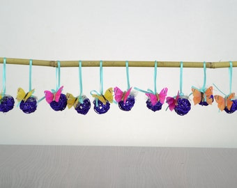 Purple Easter decoration, Rattan balls, Easter branch ornament, Spring/Summer