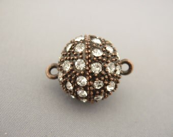Magnetic Clasp Dark Chocolate Brown Color with Crystals 17mm Round Causal & Elegant by Designers Findings (sku# 45)