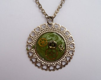 Green Upcycled Necklace with Watch Parts